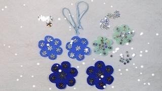 DIY - Как сделать снежинки своими руками из фетра - Новогодний декор - Елочные игрушки