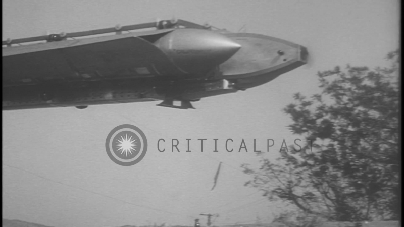 A newly invented dirigible is tested in Universal City, California. HD Stock Footage