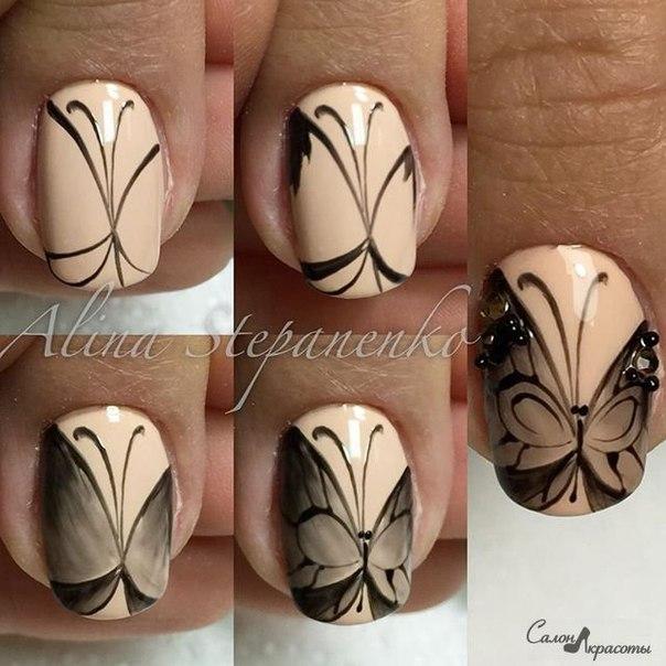Фото бабочки на ногтях пошагово для начинающих