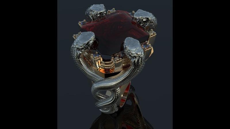 кольцо мужское со змеями рендер