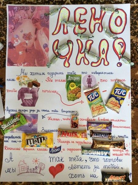 Открытка со сладостями на день рождения