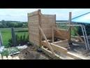 Строительство каркасной бани из бруса, безусадочной конструкции с фундаментом на шинах с комнатой