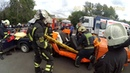 Arrival of firefighters and rescuers on training accident (siren, lightbar)