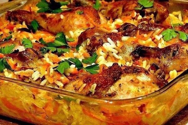 Курица с рисом в духовке курица, 1шт рис, 2