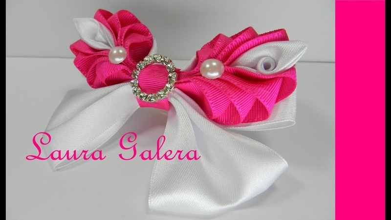 Moño para niña y bebe con rosas Bow for girl and baby with roses