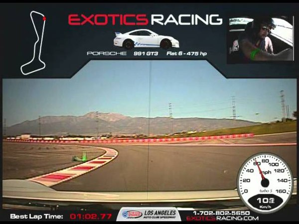 ExoticsRacing Los Angeles | Taking the FWD Porsche 911 (991 Mk1) GT3 out for a few laps! First time driving a Porsche came in with a best lap of 102.77 that session... fun car to drive)!