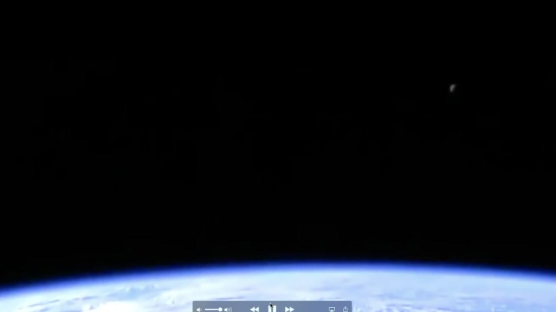 ISS Live Feed cuts as purple and green MOON becomes visible in camera 2