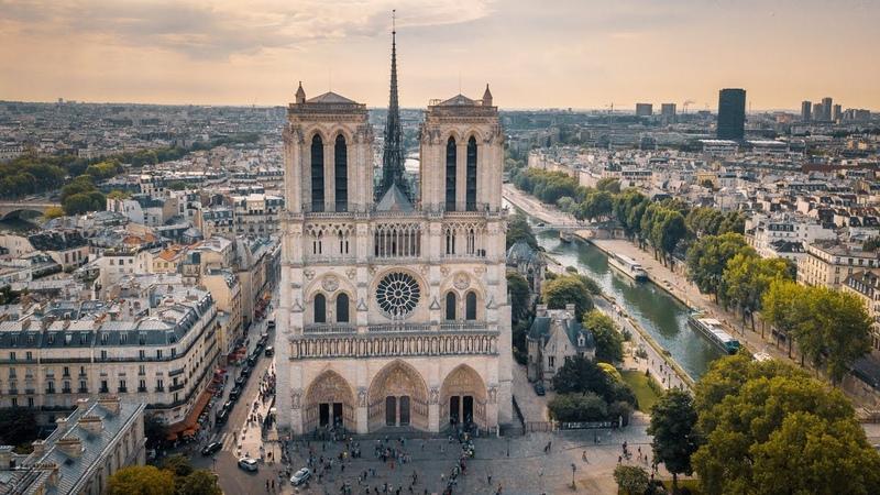 Собор Парижской Богоматери Нотр дам де Пари аэросъёмка