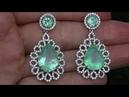 Estate JUMBO SIZE Natural Colombian Emerald Diamond 18k White Gold Stud Earrings - A141516