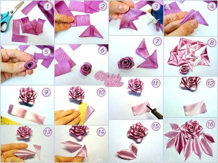 Цветы из лент своими руками мастер класс букеты