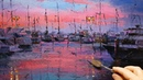 Boats Marina Twilight - How to - Oil Painting - Palette Knife | Brush - Perth Dock Harbour Dusan