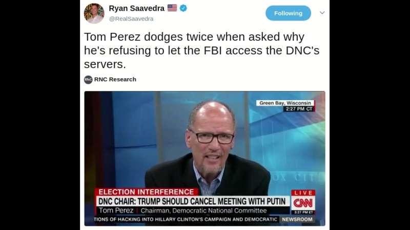 Tom Perez dodges twice when asked why hes refusing to let the FBI access the DNCs servers