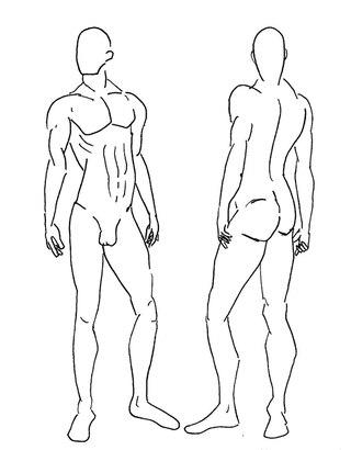 Эскизы мужской фигуры в разных