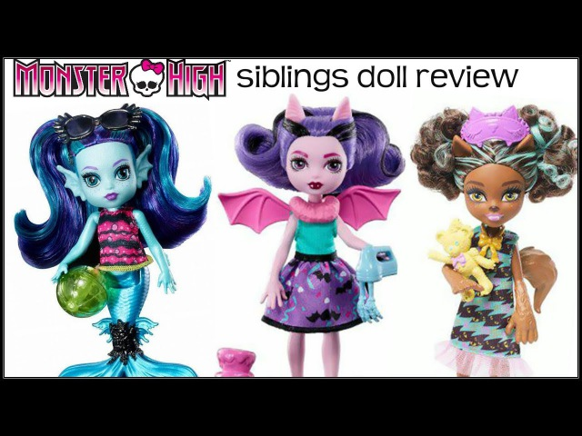 MONSTER HIGH FAMILY FANGELICA EBBIE BLUE PAWLA WOLF DOLL REVIEW NEW SISTER SIBLING TOY DOLLS