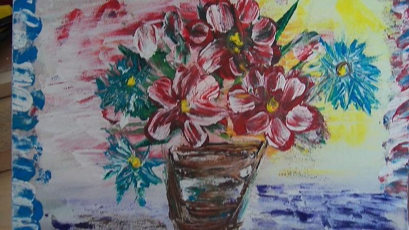 Первая картина цветы в горшочке