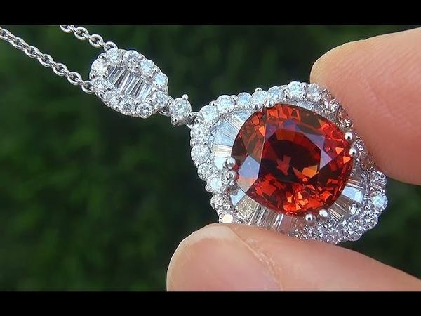 GIA Certified Natural Spessartite Garnet Diamond 18k White Gold Pendant Necklace - C555
