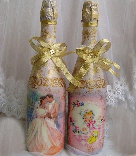Шампанское декупаж свадебный