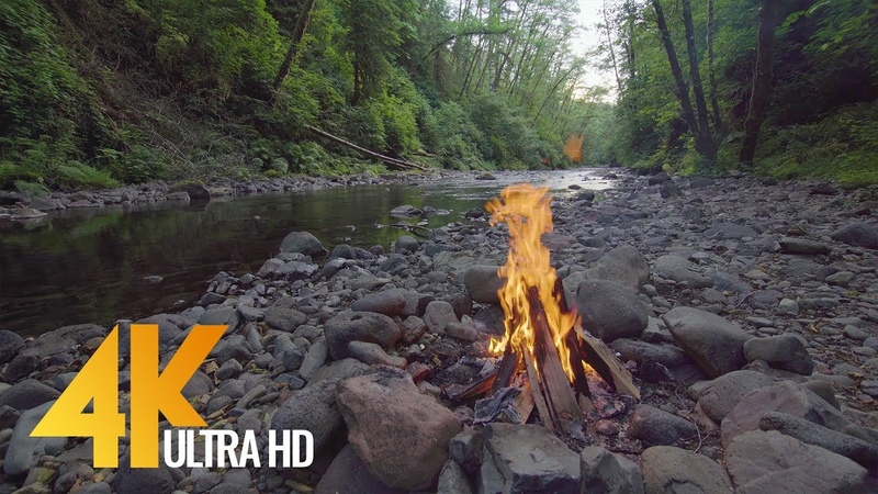 3 Hours of Campfire Relax Video - Soothing views of the Fire by the River 2