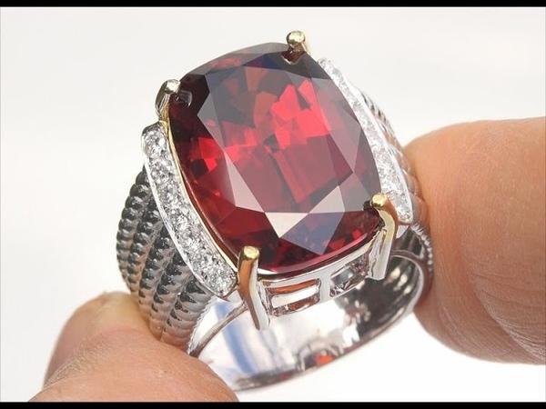 GIA Certified Natural FLAWLESS Spessartine Garnet Diamond 14k Gold Estate Ring 20.87 TCW - C211