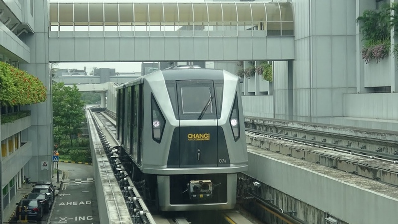 RailWay Skytrain at Changi Airport Ride from T1 to T3 and come back Скайтрейн в аэропорту Чанги