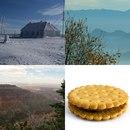 Дом под снегом, туман над горами, гора, печенье с начинкой
