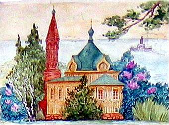 Рисунок Ильинской церкви в Дядьково  учителя рисования школы № 21 Е.Б. Дементьевой 2002 год