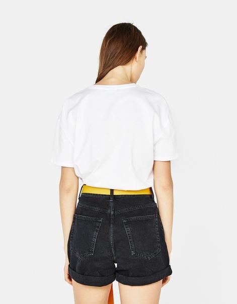 Джинсовые шорты с поясом