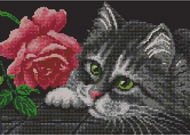Скачать схему вышивки бисером Роза и котенок pdf