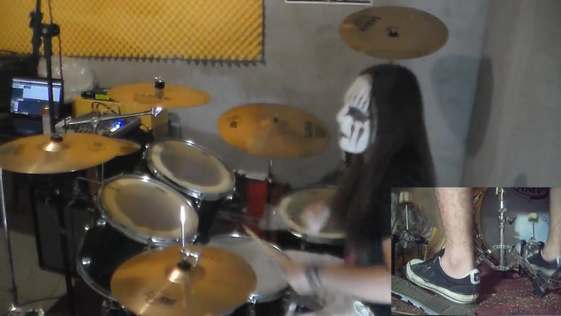 Slipknot - Psychosocial Drum Cover with Joey Jordison Mask Nice Dead drum