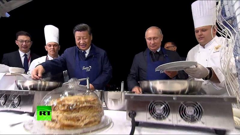Блины, икра, водка, сбитень: Путин и Си Цзиньпин