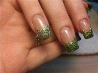 Зеленый френч с блестками :: Фотографии дизайна ногтей со всего мира :: Наталья Латыпова.
