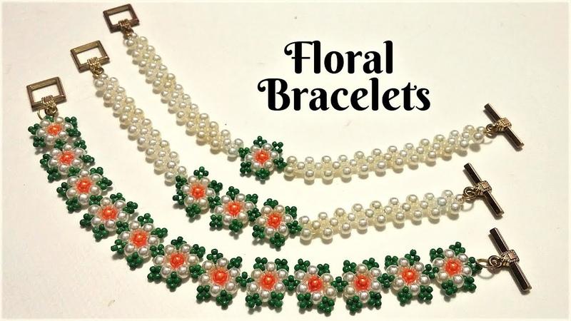 Floral bracelets. DIY Beaded Bracelets. how to make beaded jewelry-easy tutorial