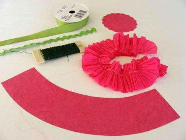 Корзинка цветов из гофрированной бумаги своими руками