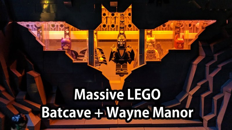 Huge LEGO Batcave and Wayne Manor