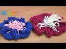 Вязание спицами цветов Урок 9 Цветок с пышной серединкой