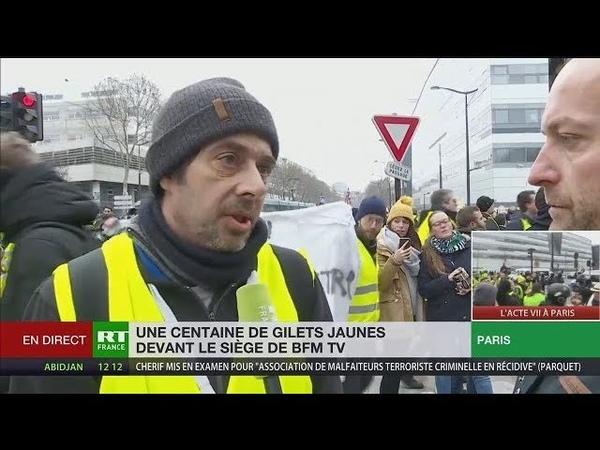 Un Gilet Jaune manifeste devant BFM TV en raison des mensonges de la chaîne (RT,291218,13h)