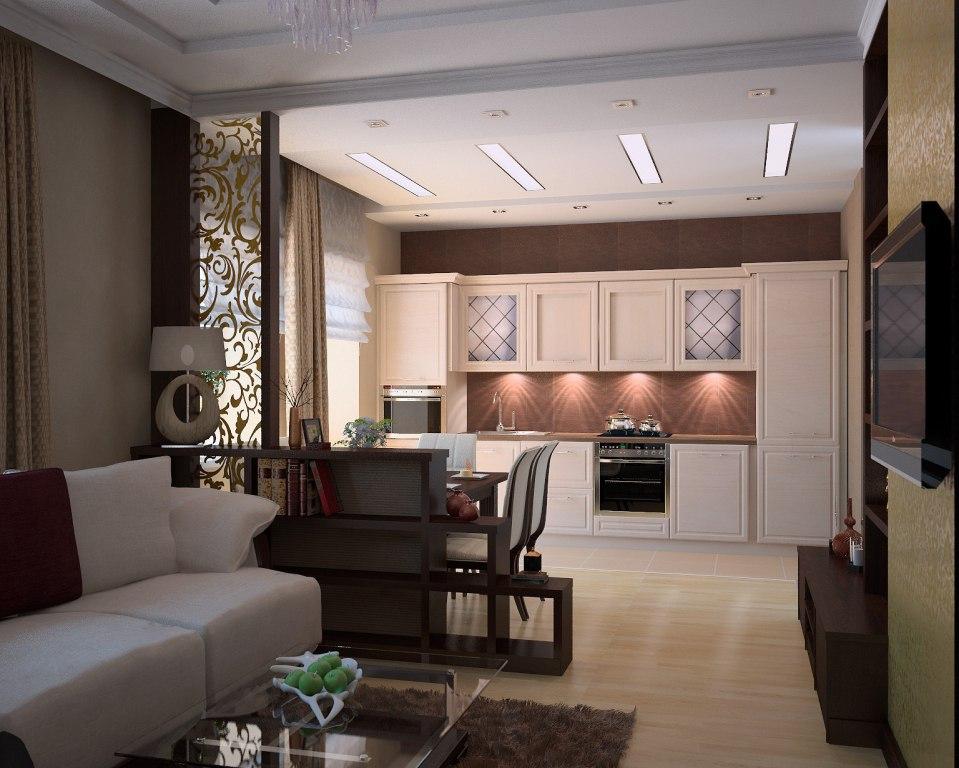 Дизайн гостиной совмещенной с кухней 20 кв.м