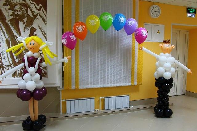 Оформление воздушными шарами выпускного в детском саду!