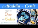 Drawing of Aladdin Genie on Cookies Decorate Royal Icing How to draw SweetPoppyArt 38