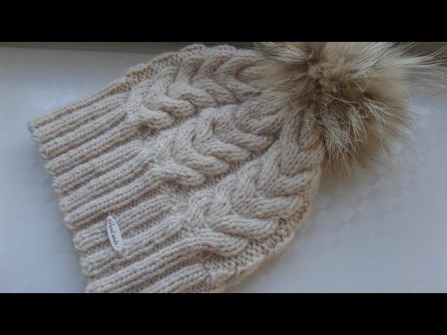 Шапка с косами и помпоном вязание по кругу. Вязание спицами. Knitting(Hobby)