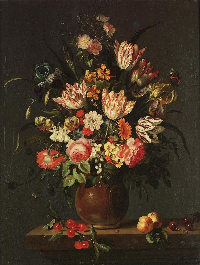 Букет цветов в рейнском керамическом кувшине, Якоб Маррель, 1645