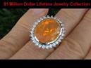 RARE 18K Gold Mexican Fire Opal Diamond Ring