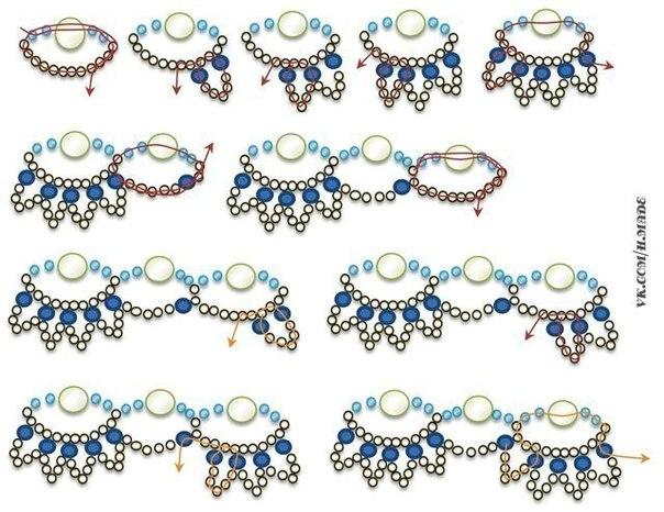 Схема плетения ожерелья Браслет из бисера лодочки, схема + описание Гранатовое колье из бисера. .