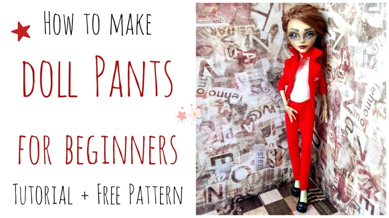 How to make doll pants / trousers - Monster High pants easy for beginners free pattern
