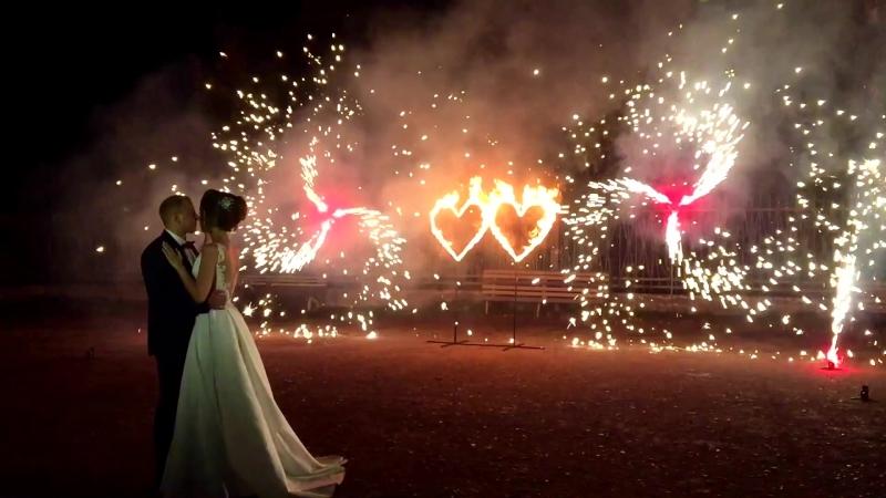 Свадьба в Нике - Виктория и Вячеслав - 15.09.18 - огненные сердца, пиродорожка и вертушки