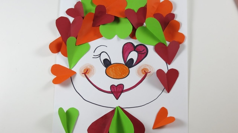 Valentine's Day DIY: Funny Clown Made out of Colorful Hearts
