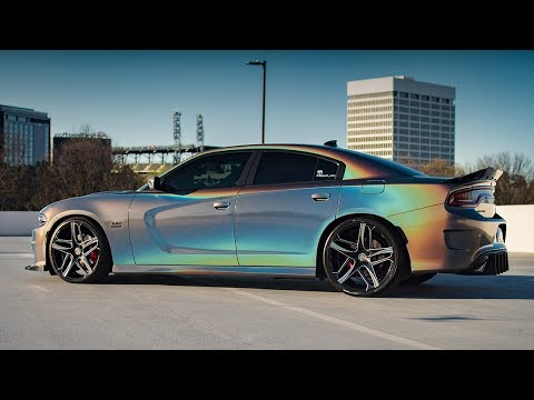3M GLOSS FLIP PSYCHEDELIC DODGE CHARGER R T SCAT PACK ON 22 LEXANI WHEELS