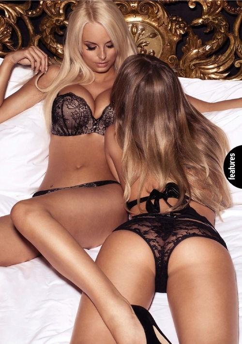 Lesbians in lingerie fucking double ended dildo