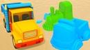 Dessin animé pour enfants avec les jeux de sable moules multicolores