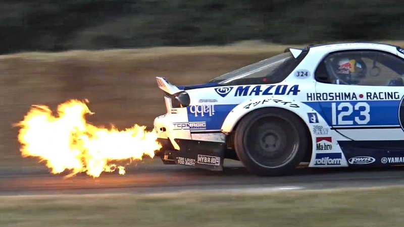 Mad Mike's CRAZY 26B Quad Rotor Mazda RX 7 Spitting HUGE FLAMES @ Goodwood FOS
